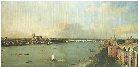 Canaletto (1747 - 1755), Il Tamigi verso il ponte di Westminster
