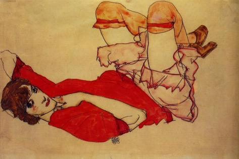 Egon Schiele, Wally with a red blouse, 1913