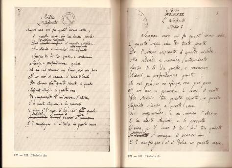 Leopardi, Infinito, Autografi
