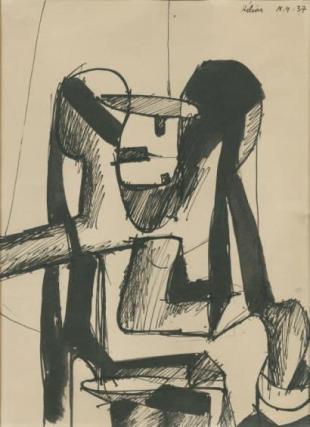 Jean Helion, Etude pour l'illustration de Chêne et Chien