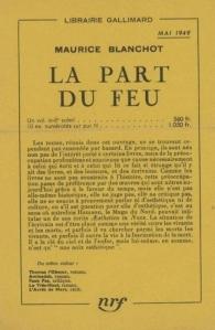 Maurice Blanchot, La part du feu