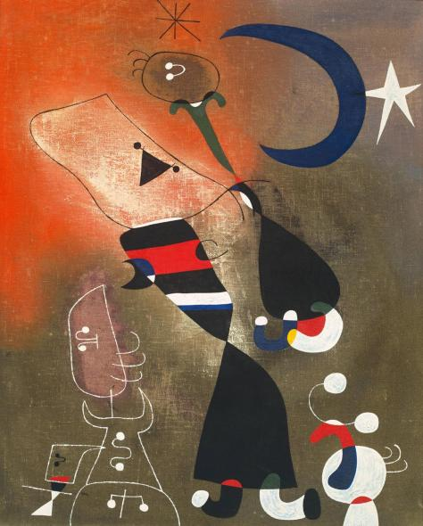 Joan Miró, Woman and bird in the moonlight