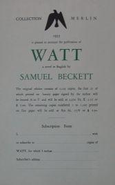 Samuel Beckett,  Watt, 1953