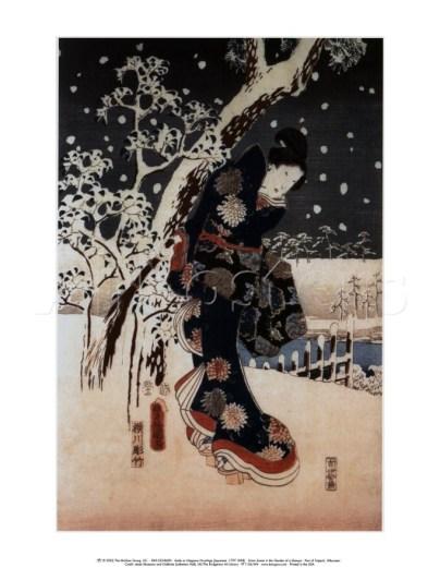 Utagawa Hiroshige, Scena con la neve nel giardino di Daimyo